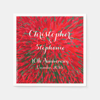 Red Green Christmas Wedding Anniversary Party Disposable Napkins