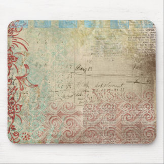 Red Green Collage Vintage Paper Mouse Pads