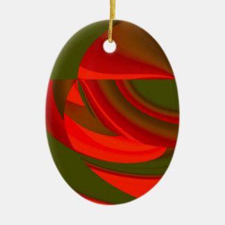 Red & Green Cubist Abstract Ceramic Oval Ornament