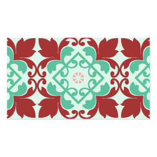 Red Green Decorative Flourish Pattern Business Card Templates