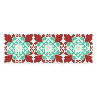 Red Green Decorative Flourish Pattern Mini Business Card