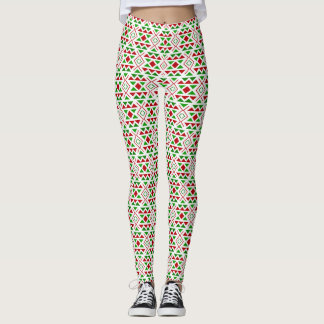 Red green geometric Leggings