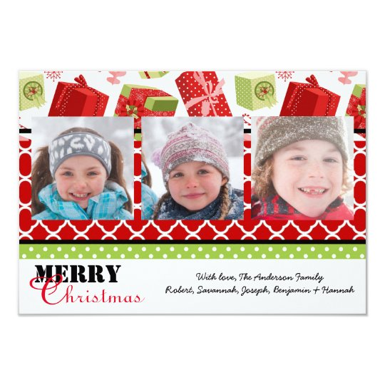 Red & Green Gifts 3 Photos - 3x5 Christmas Card