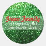 Red & Green Glitter Christmas Return Address Label Sticker