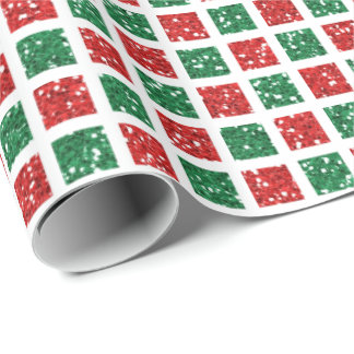 Red & Green Glitter Pattern Christmas Wrapping Paper