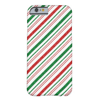 Red Green Glitter Stripes Christmas Barely There iPhone 6 Case