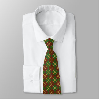 Red green gold Christmas plaid style patterned Tie