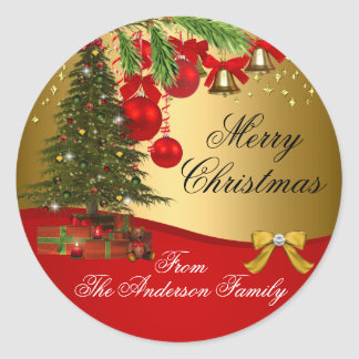 Red Green gold Christmas Tree Xmas Holiday Sticker