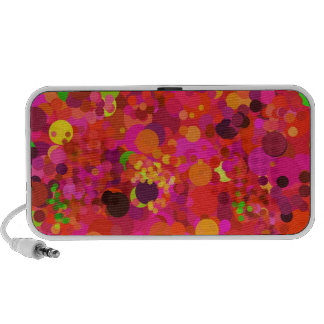 Red Green Gold & Pink Dots Colorful Pattern Travelling Speakers