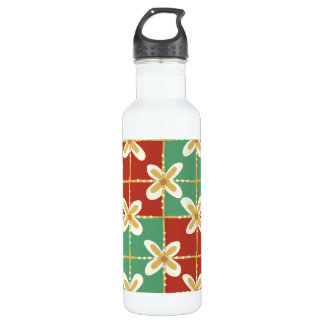 Red green golden Indonesian floral batik pattern 710 Ml Water Bottle