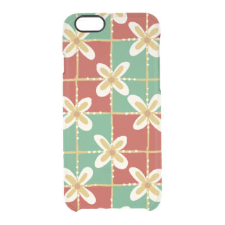 Red green golden Indonesian floral batik pattern Clear iPhone 6/6S Case