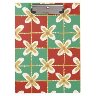 Red green golden Indonesian floral batik pattern Clipboard