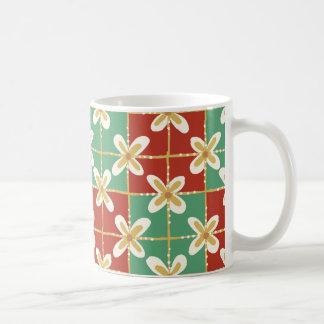 Red green golden Indonesian floral batik pattern Coffee Mug