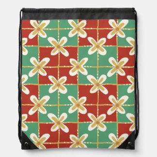 Red green golden Indonesian floral batik pattern Drawstring Bag