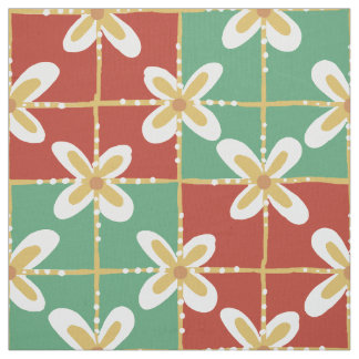 Red green golden Indonesian floral batik pattern Fabric