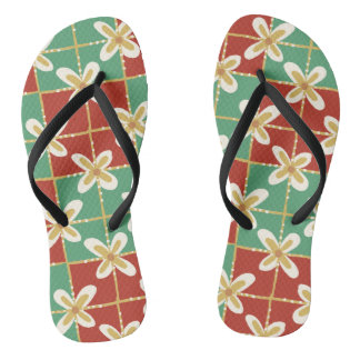 Red green golden Indonesian floral batik pattern Flip Flops