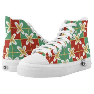 Red green golden Indonesian floral batik pattern High Tops