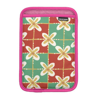 Red green golden Indonesian floral batik pattern iPad Mini Sleeve