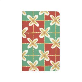 Red green golden Indonesian floral batik pattern Journal