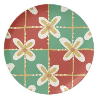 Red green golden Indonesian floral batik pattern Plates
