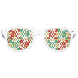 Red green golden Indonesian floral batik pattern Retro Sunglasses