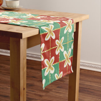 Red green golden Indonesian floral batik pattern Short Table Runner