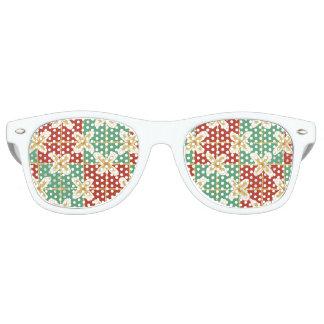 Red green golden Indonesian floral batik pattern Sunglasses