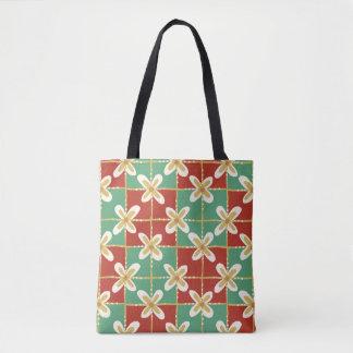 Red green golden Indonesian floral batik pattern Tote Bag