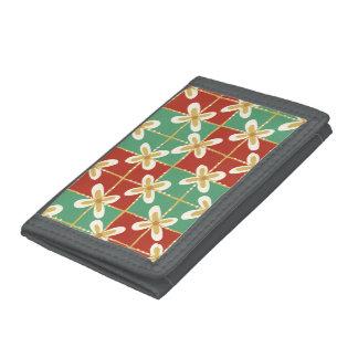 Red green golden Indonesian floral batik pattern Tri-fold Wallet