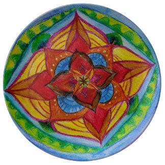 Red Green Hand Painted Floral Style Mandala Plate