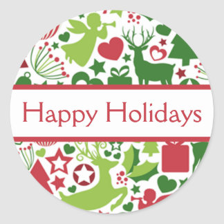 Red & Green Happy Holidays Christmas Sticker