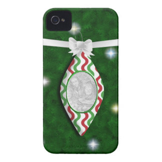 Red & Green Holiday Ornament Photo Blackberry Case