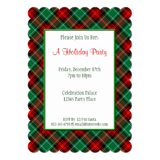 Red Green Holiday Retro Plaid Custom Invitations