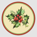 Red & Green Holly Christmas Holiday Envelope Seals Round Sticker