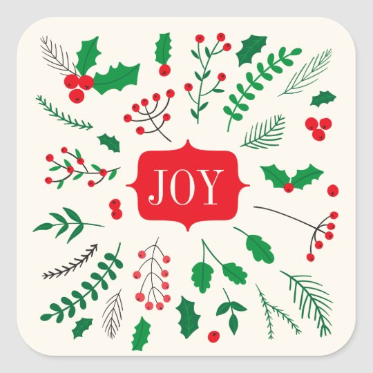 Red Green Holly Joy Christmas Pattern Square Sticker