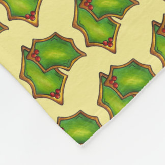 Red Green Holly Leaf Christmas Xmas Holiday Cookie Fleece Blanket