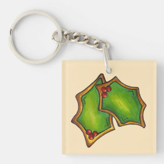 Red Green Holly Leaves Christmas Holiday Cookie Keychain
