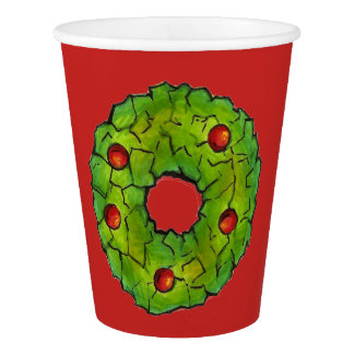 Red Green Holly Wreath Christmas Holiday Cookie Paper Cup