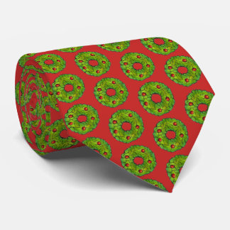 Red Green Holly Wreath Christmas Holiday Cookie Tie