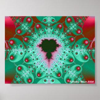 Red & Green Mandelbrot Poster