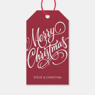 Red & Green Merry Christmas Pack Of Gift Tags