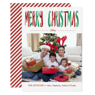 Red Green Merry Christmas Photo Holiday Card