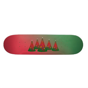 Red Green Merry Christmas Tree Skateboard