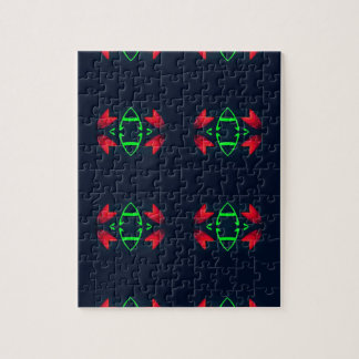 Red Green Modern Christmas on Black Background Jigsaw Puzzle