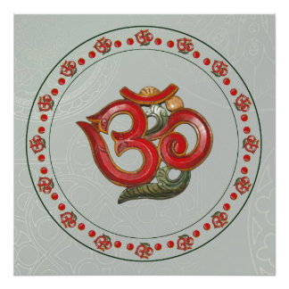 red green OM with AUM ornament Poster