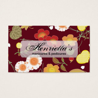Red Green Orange Fine Japanese Floral Business Card