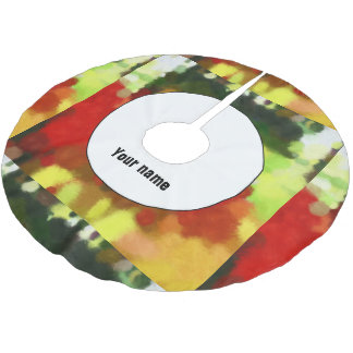 Red green painting brushed polyester tree skirt
