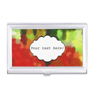 Red green painting business card holder