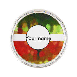 Red green painting lapel pin