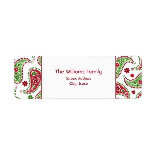 Red & Green Paisley Christmas Address Label